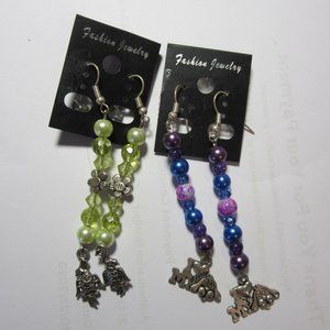 """2prs Hancrafted Earrings """"I love my dog"""" & Parrots"""